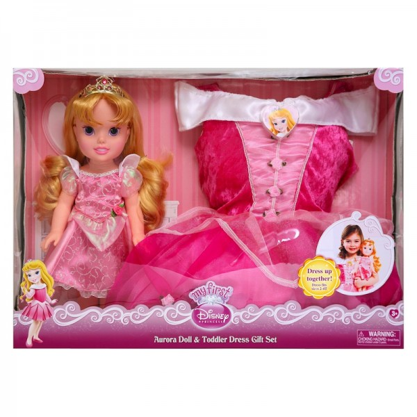 Disney My First Princess: Aurora Doll and Toddler Dress Gift Set: Feel like a princess; $34.99