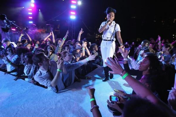 Janelle Monae performs for the crowd.