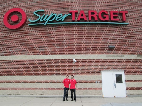 A couple of super guys in front of Super Target