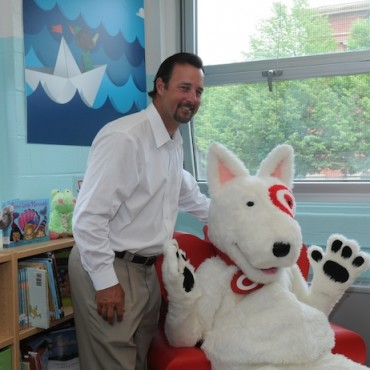 Former Boston Red Sox player Tim Wakefield visited Joseph J. Hurley school in Boston as part of Target's school library makeover.