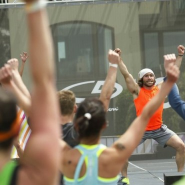 C9 by Champion ambassador Adam Rosante leads a workout class in San Francisco.