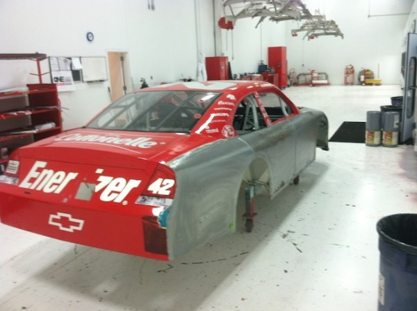 The original paint is stripped away