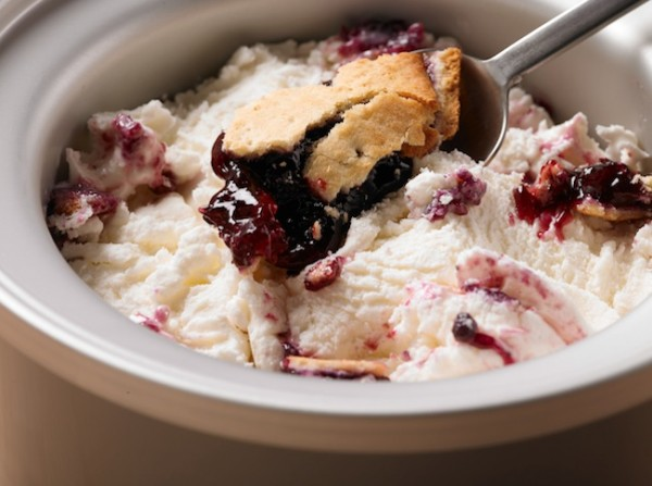 Once churned, gently stir in Tastykake Blueberry Pies and serve right away!
