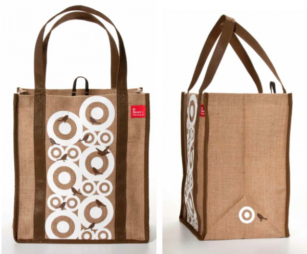 Burlap and birds made this a standout bag