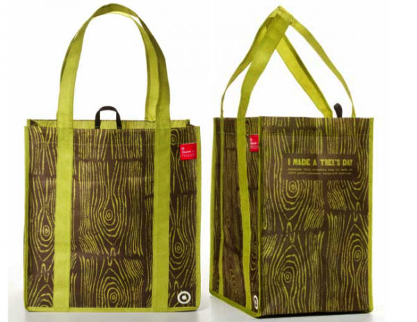 "Bag was made from plastic bottles. The bag reads, "" I made a tree's day"""