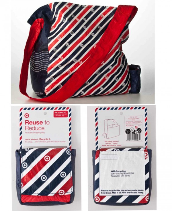This bag could be mailed in to get recycled--the main reason for the postal themed pattern!