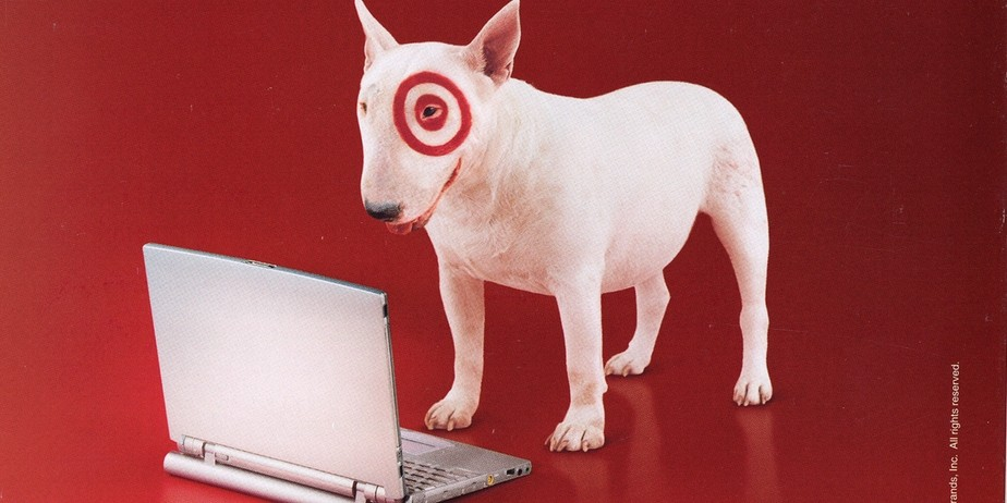 Bullseye looking at a computer.
