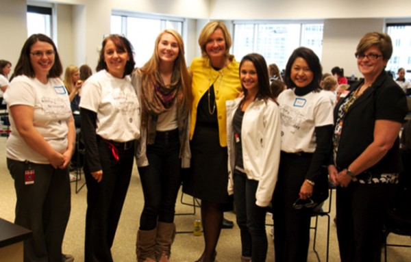 Beth Jacob smiles with students on Target's first Science and Technology Day